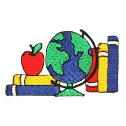 ID 0959 Books Globe Apple Patch Kids School Type Embroidered