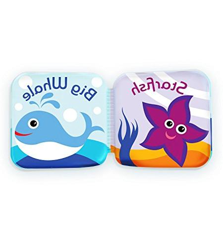 "Floating Books for Bathtub by Bibi. Fruits & Sea Animals. Baby or Time Learn 3.5""x3.5"""