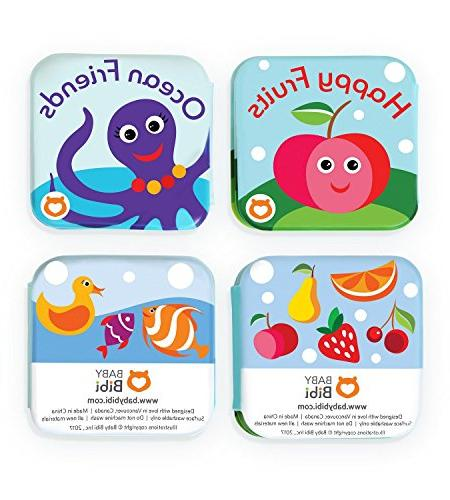 "Floating Books Bathtub by Fruits Sea Animals. Waterproof Educational Toy Time Learn & Play. 3.5""x3.5"""